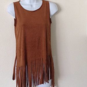 Boho Faux suede fringed top